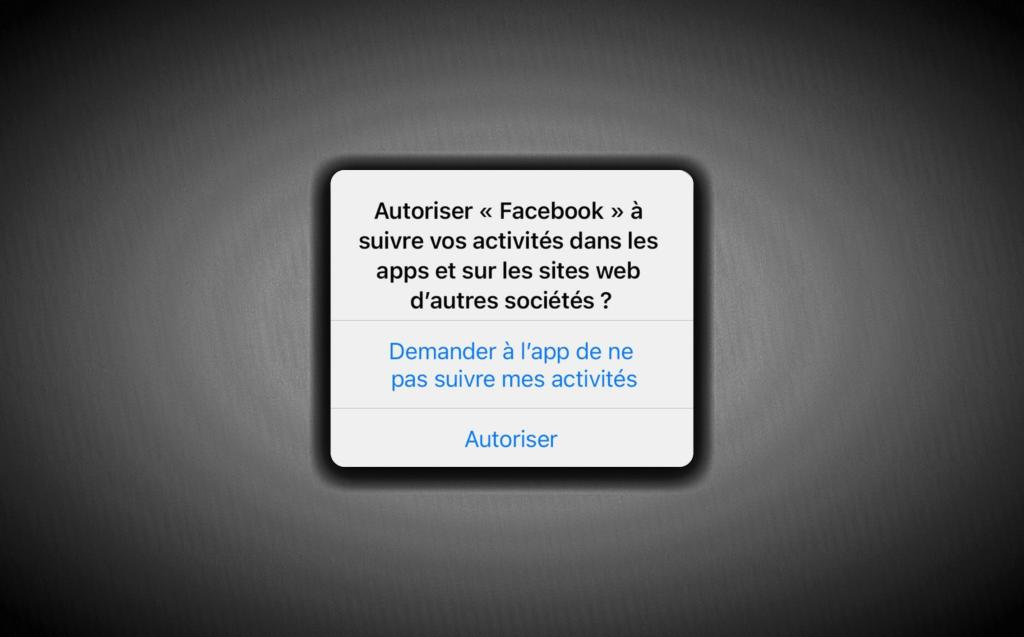 fenêtre pop-up de consentement Apple pour Facebook